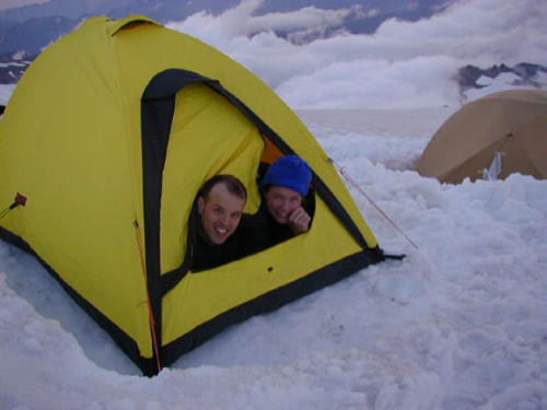 Doug and Court peek out of their tent like marmots!  sc 1 st  Body Results & Adventures - Mt Rainier 2002